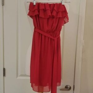 Red Strapless Ruffled Maxi Dress